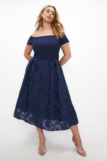 Navy Curve Bardot Neck Embroidered Midi Dress