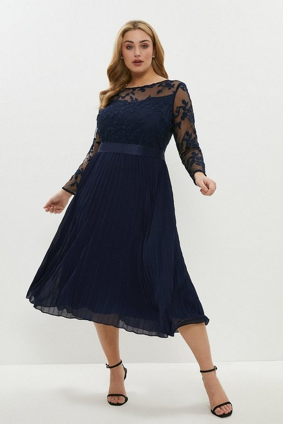 Navy Curve Embroidered Long Sleeve Midi Dress