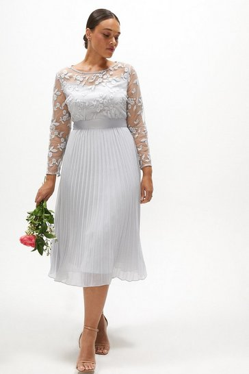Silver Curve Embroidered Long Sleeve Midi Dress