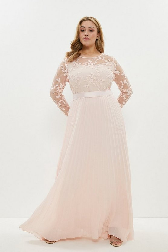 Blush Curve Embroidered Long Sleeve Maxi Dress