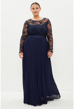 Navy Curve Embroidered Long Sleeve Maxi Dress
