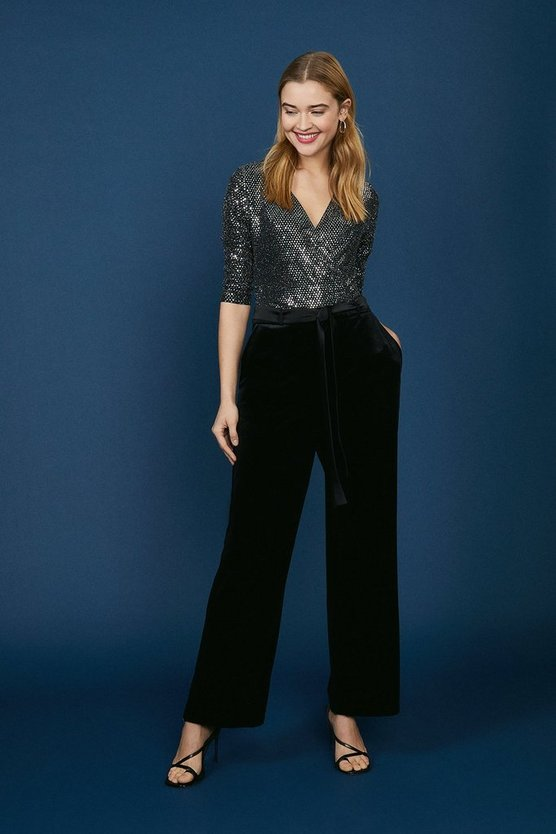 Black Belted Velvet Straight Leg Trouser