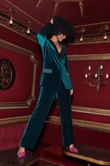 Forest Belted Velvet Straight Leg Trouser
