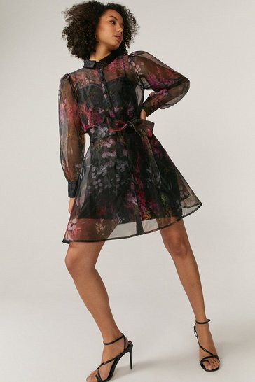Black Belted Organza Mini Shirt Dress