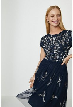 Navy Floral Beaded Mesh Flippy Dress