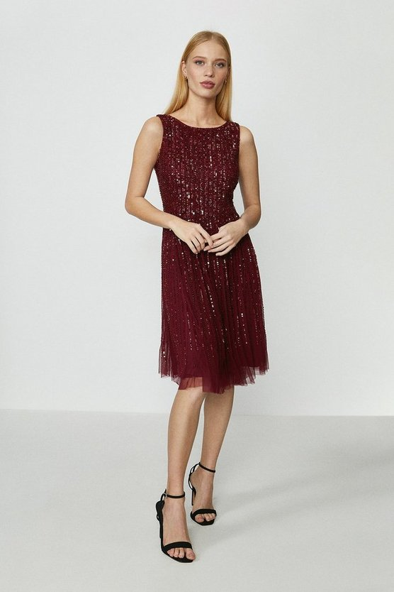 Burgundy Linear Sequin Dress