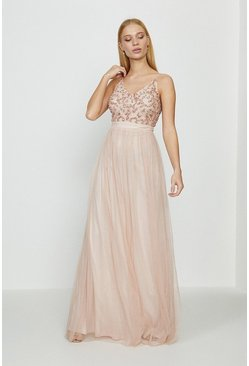 Blush Sequin Mesh Maxi Dress