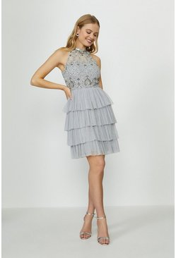 Grey Sequin Halter Tier Dress
