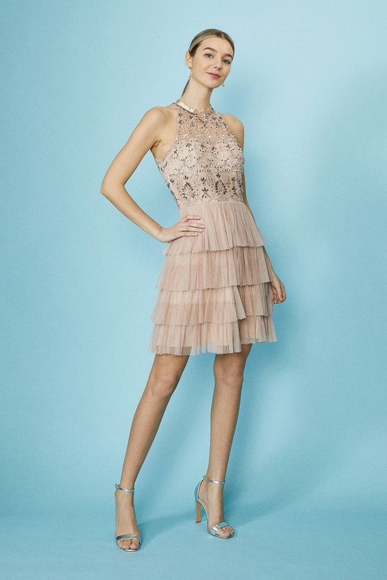 Pink Sequin Halter Tier Dress