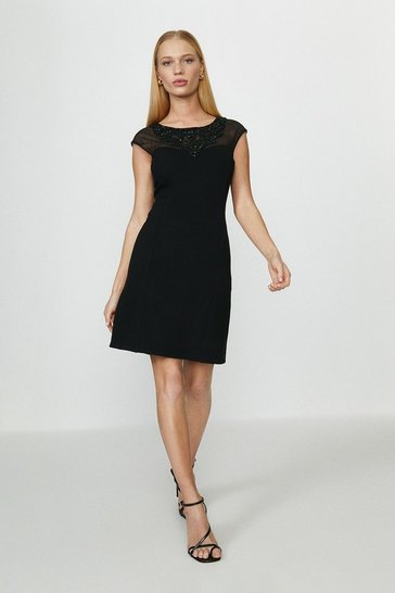 Black Ponte Beaded Shift Dress
