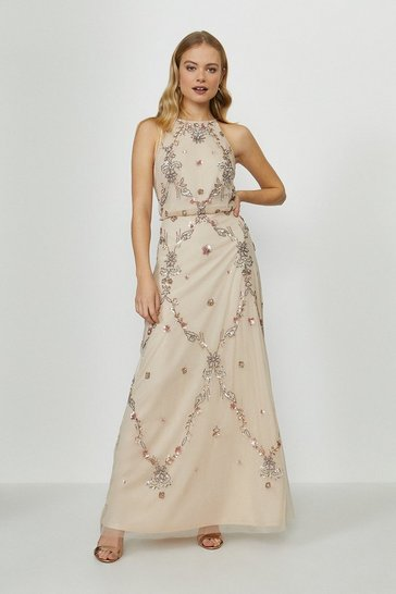 Nude Beaded Halter Maxi Dress