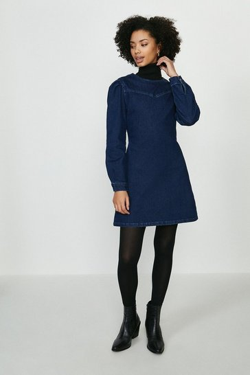 Indigo Puff Sleeve Yoke Detail Denim Dress