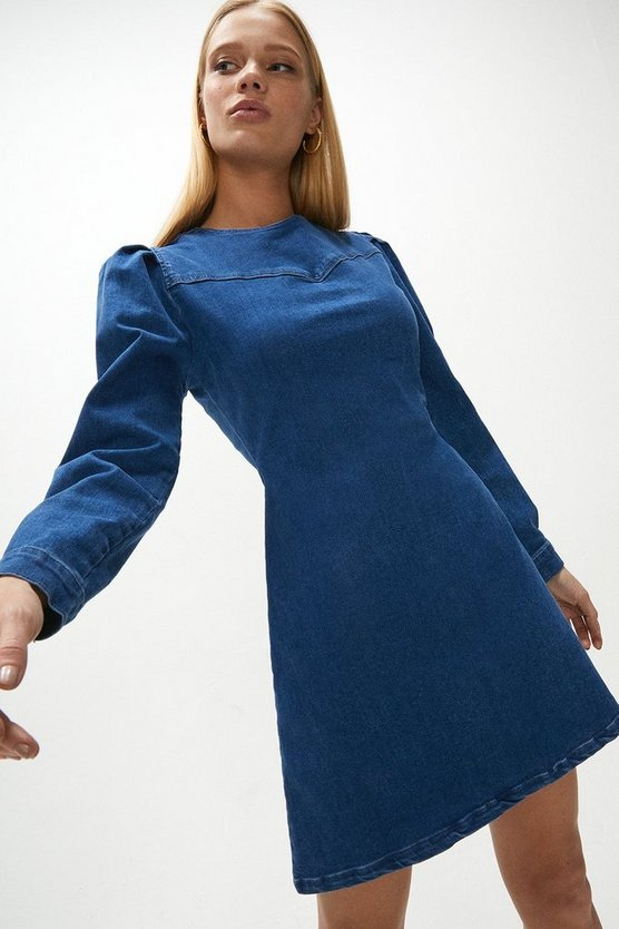 Mid wash Puff Sleeve Yoke Detail Denim Dress