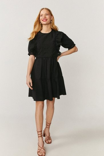 Black Guipure Lace Trim Dress