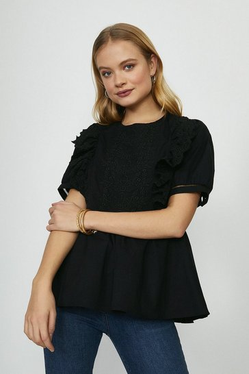 Black Guipure Lace Trim Top