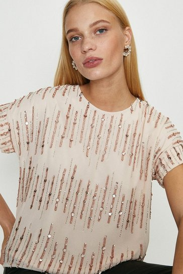 Blush Embellished Sequin T-Shirt