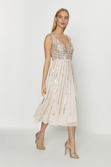 Blush Embellished Sequin Plunge Midi Dress