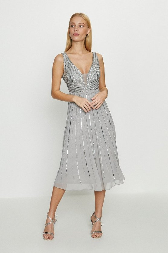 Silver Embellished Sequin Plunge Midi Dress