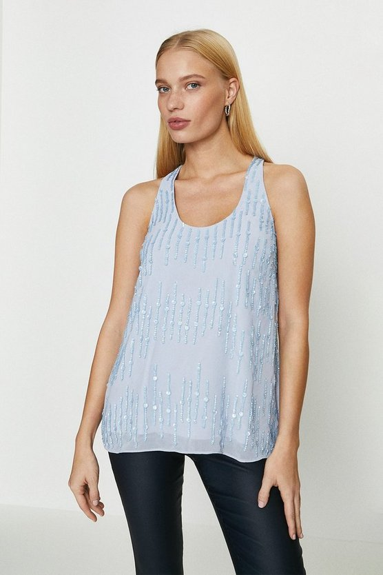 Navy Embellished Sequin Vest Top