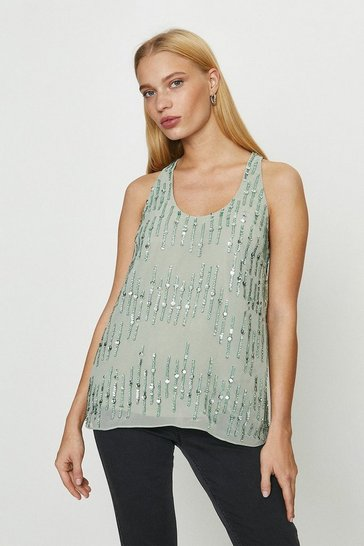 Sage Embellished Sequin Vest Top