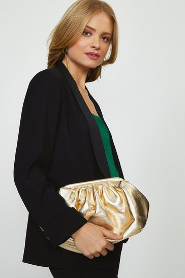 Gold Premium Metallic Sloucy Cross Body Bag