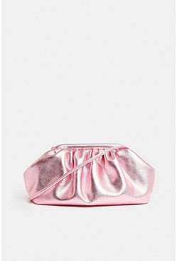 Pink Premium Metallic Sloucy Cross Body Bag