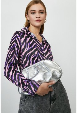 Silver Premium Metallic Sloucy Cross Body Bag