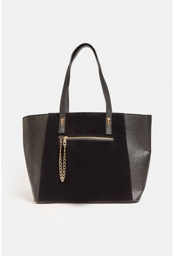 Black Suedette And PU Mix Shopper Bag