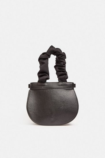 Black Ruched Handle Mini Bag