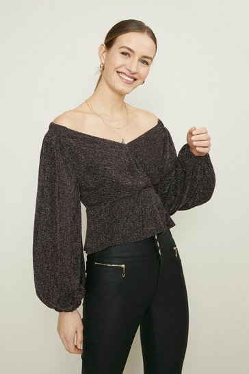 Pink Bardot Puff Sleeve Top