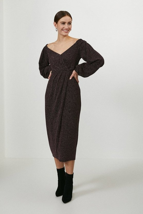 Pink Bardot Puff Sleeve Midi Dress