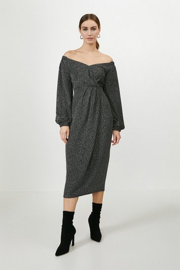 Silver Bardot Puff Sleeve Midi Dress