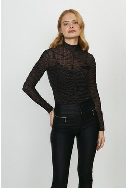 Black Ruche Detail High Neck Top