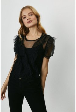 Black Spot Mesh Ruffle Top