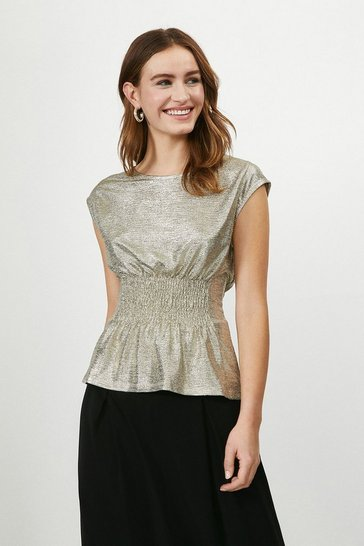 Gold Plisse Shirred Waist Sleeveless Top