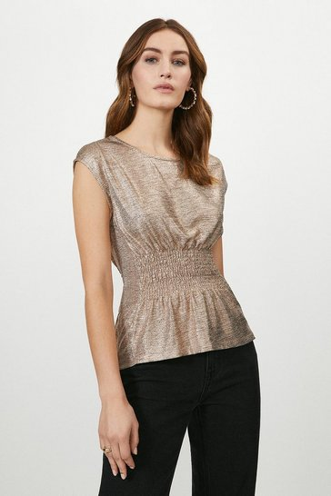Rose gold Plisse Shirred Waist Sleeveless Top