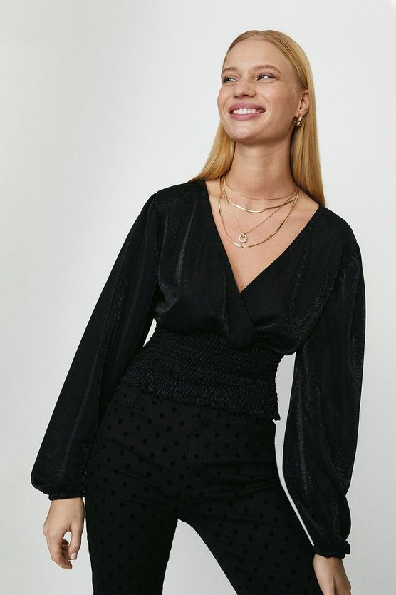Black Wrap Front Shirred Sparkle Top