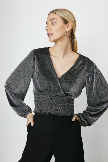 Silver Wrap Front Shirred Sparkle Top