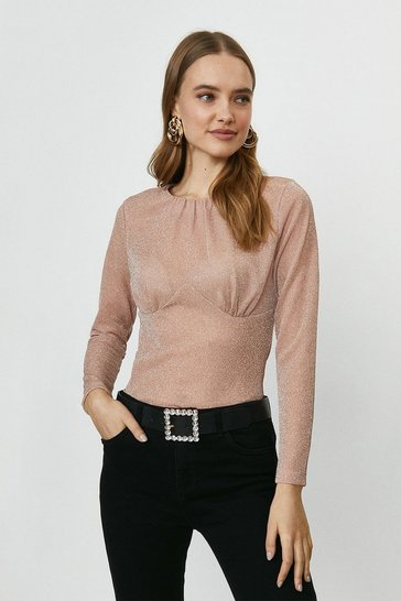 Rose gold Seam Detail Sparkle Jersey Top