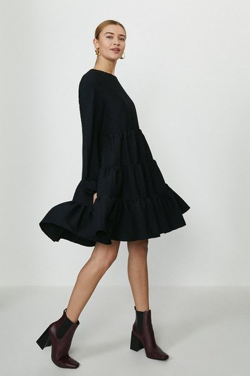 Black Crinkle Tiered A-Line Dress