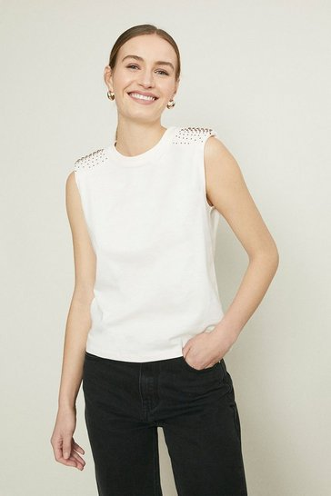 Blush Shoulder Detail Shoulder Pad Tee