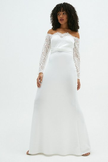 Ivory Long Sleeve Lace Bardot Bridal Maxi Dress
