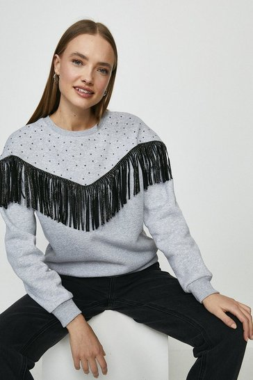Grey marl Fringe And Gem Detail Sweatshirt