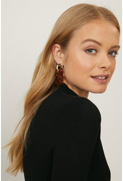 Gold Tortoiseshell Chain Earrings