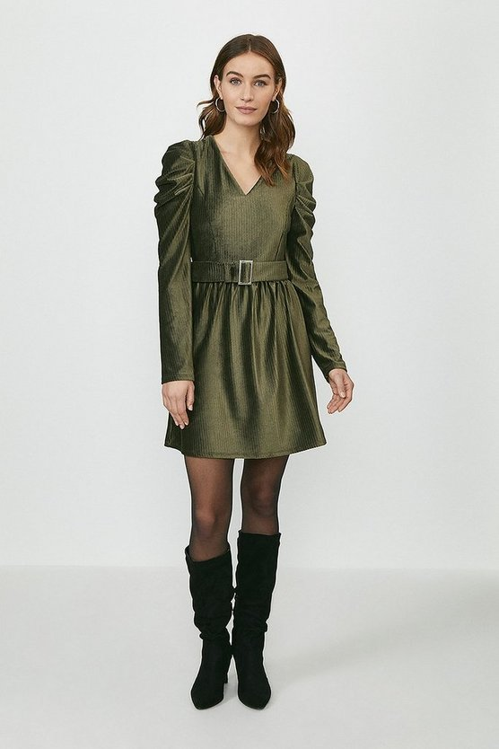 Khaki Puff Sleeve Cord Belted Skater Dress