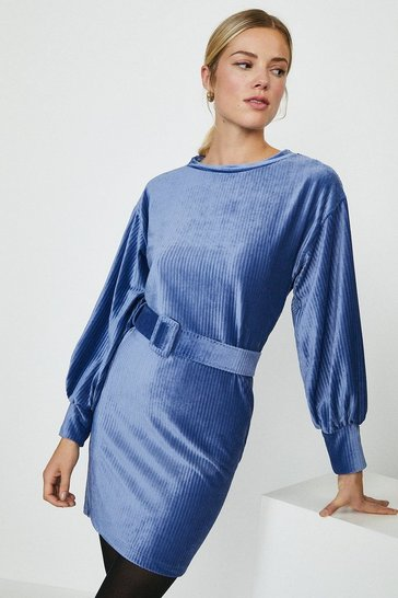 Blue Cord Belted Dress