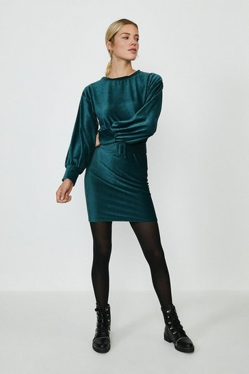 Emerald Cord Belted Dress