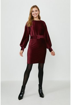 Merlot Cord Belted Dress