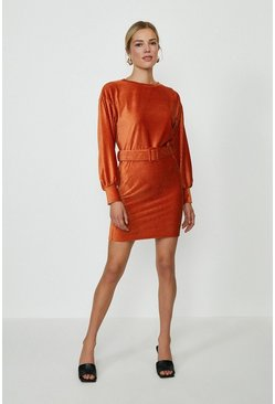 Orange Cord Belted Dress