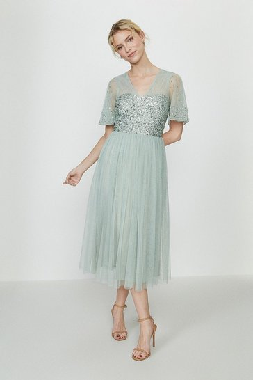 Sage Embellished Angel Sleeve Midi Dress